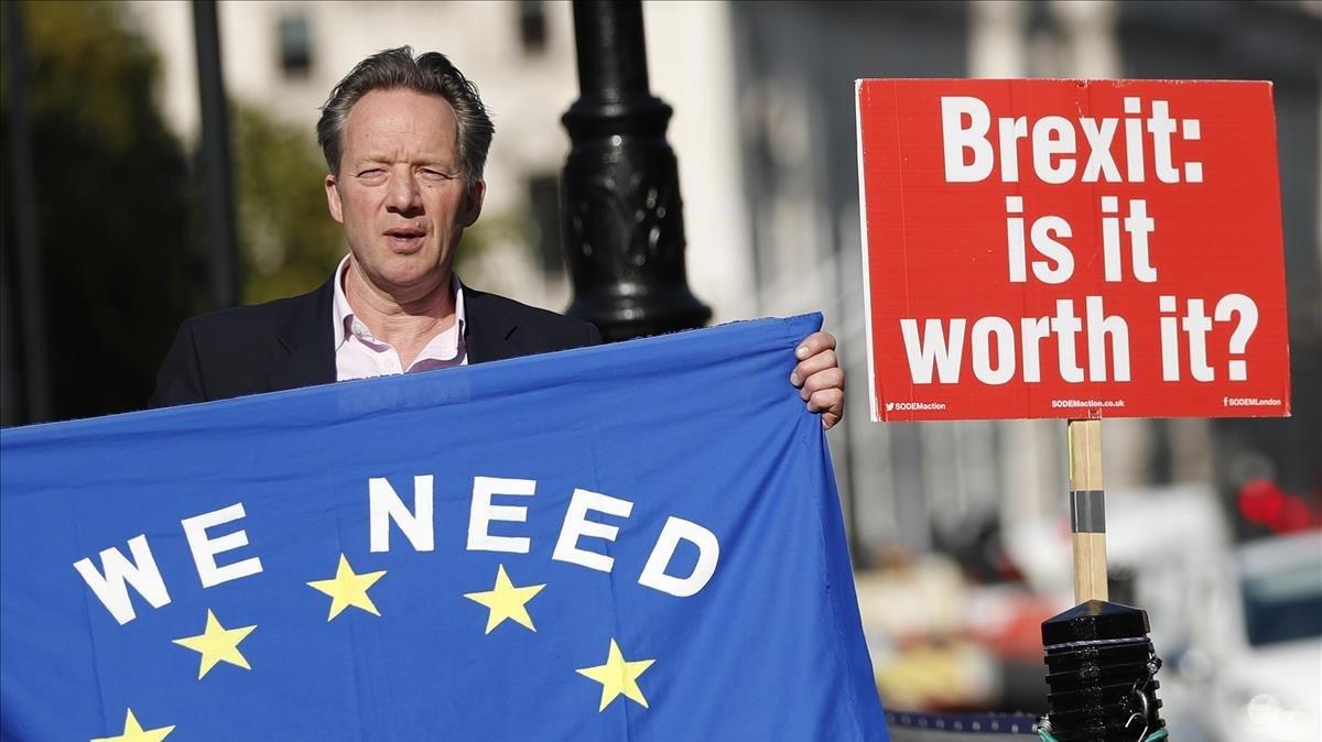 Unmanifestante protesta frenteal palacio de Westminster.