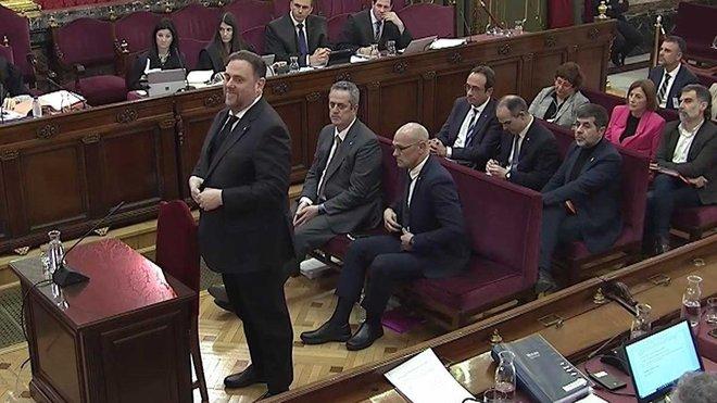 Oriol Junqueras en su declaración en el juicio del procés