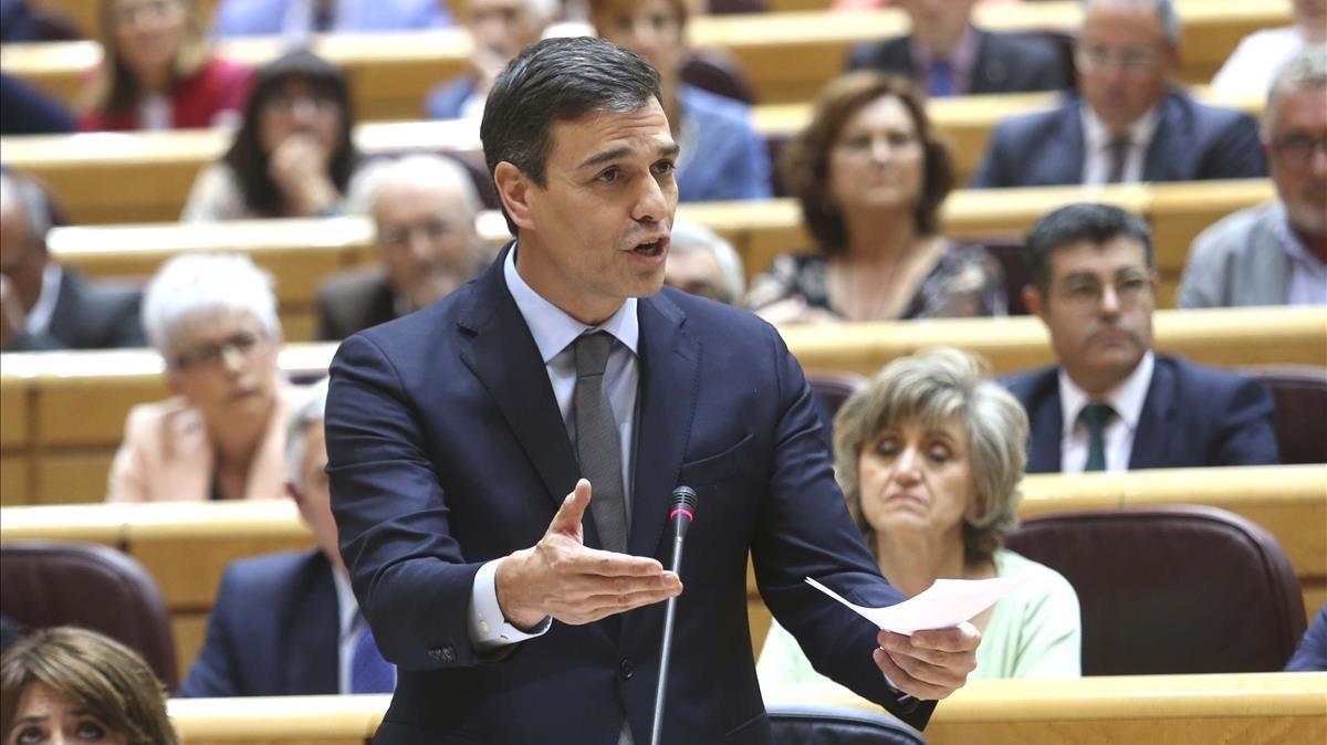 Pedro Sánchez en su primera sesión en el Senado.