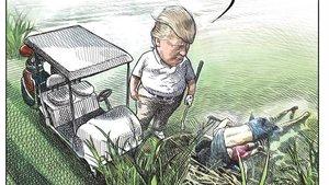 El polémico dibujo donde se presenta a Trump frente a los dos fallecidos