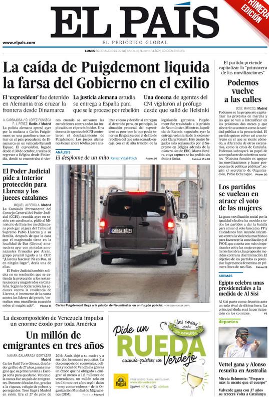 La detención de Puigdemont reconforta a los diarios de Madrid