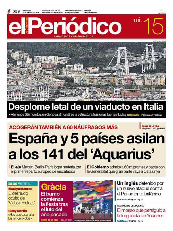 La portada de EL PERIÓDICO del 15 de agosto del 2018