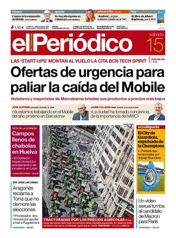 La portada de EL PERIÓDICO del 15 de febrero del 2020