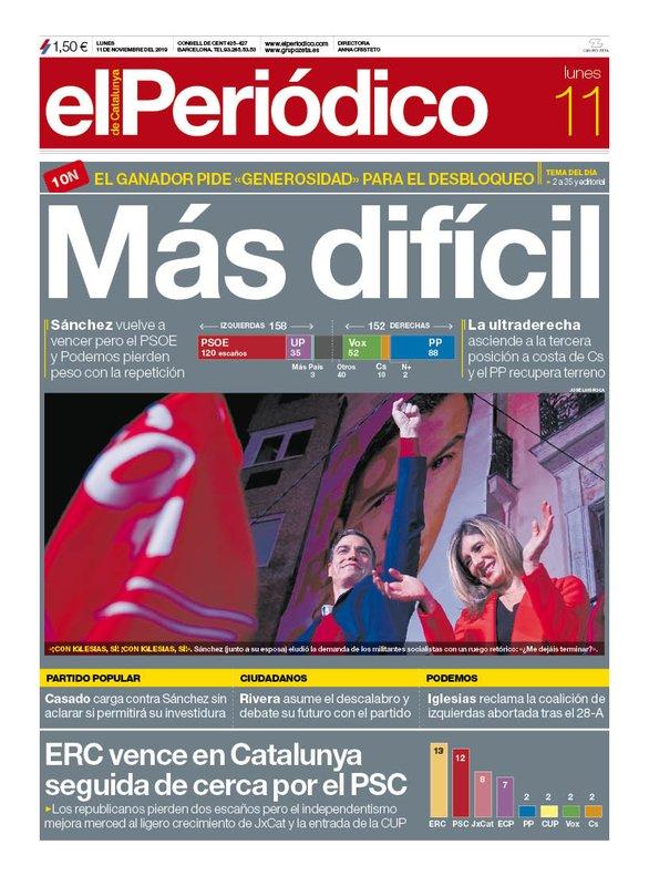 La portada de EL PERIÓDICO del 11 de noviembre del 2019.