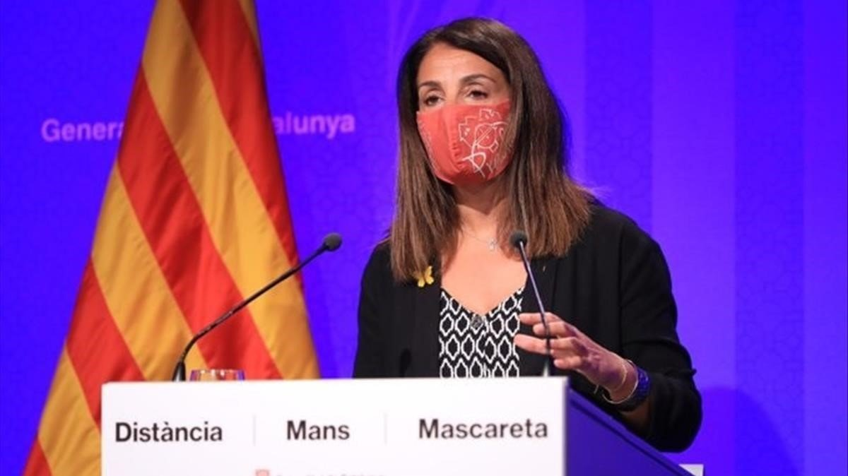 La portavoz del Govern Meritxell Budo, interviene en la Generalitat.
