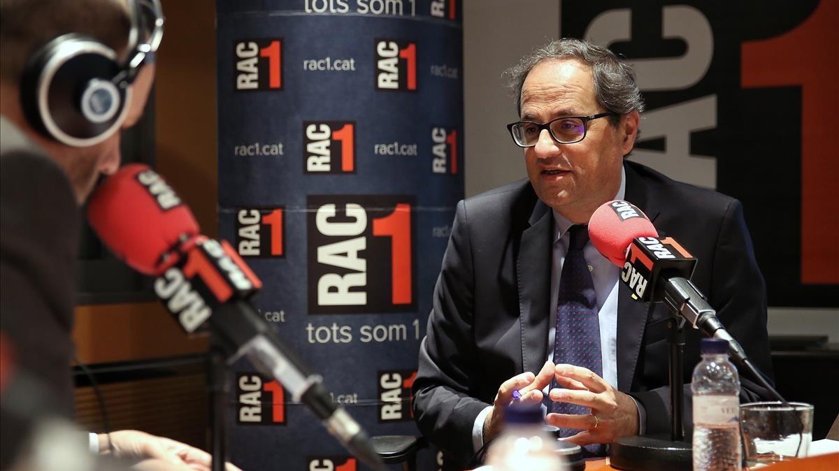El president Quim Torra, este martes, en una entrevista en RAC-1.
