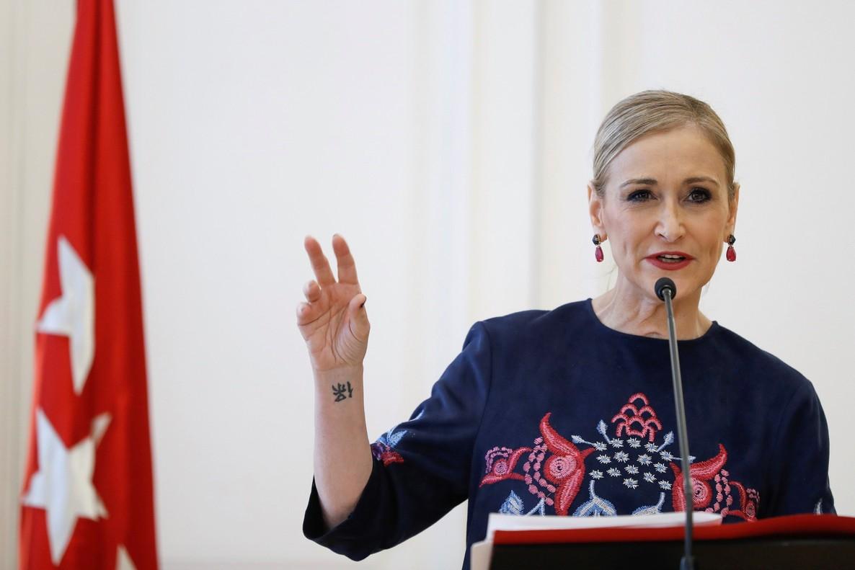 La presidenta de la Comunidad de Madrid Cristina Cifuentes en la Casa de Correos.