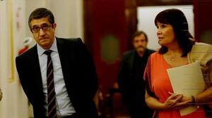 El presidente del Congreso, Patxi López, junto a la vicepresidenta, Micaela Navarro, el pasado 26 de mayo.