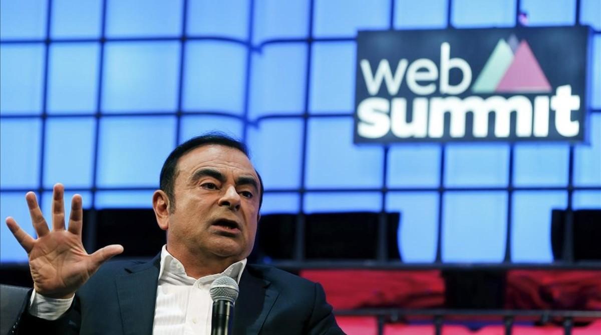 El presidente de Nissan, Carlos Ghosn, en la Web Summit de Lisboa.