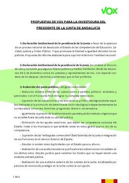 Propuesta de Vox para la investidura del presidente de la Junta de Andalucía