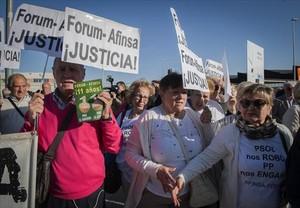 Protesta de afectados por el Fórum Filatélico ante la Audiencia Nacional.