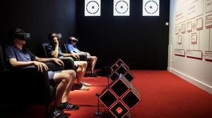 Sala dedicada al futuro de la radio en la exposición sobre los 25 años de Flaix FM que se inaugura en el Palau Robert de Barcelona.