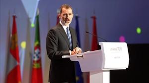 El Rey Felipe VIdurante su intervencion en el IV Encuentro Internacional de Rectores.