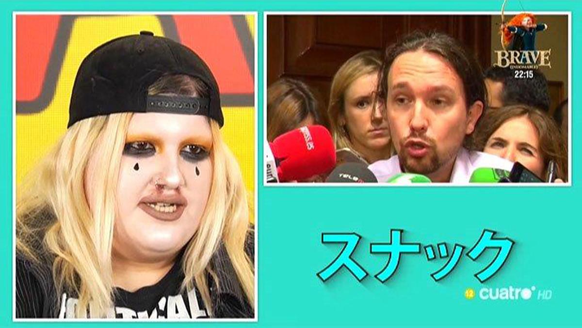 La youtuber Soyunapringada pespunteando a Pablo Iglesias, en el programaSnack de tele (Cuatro).