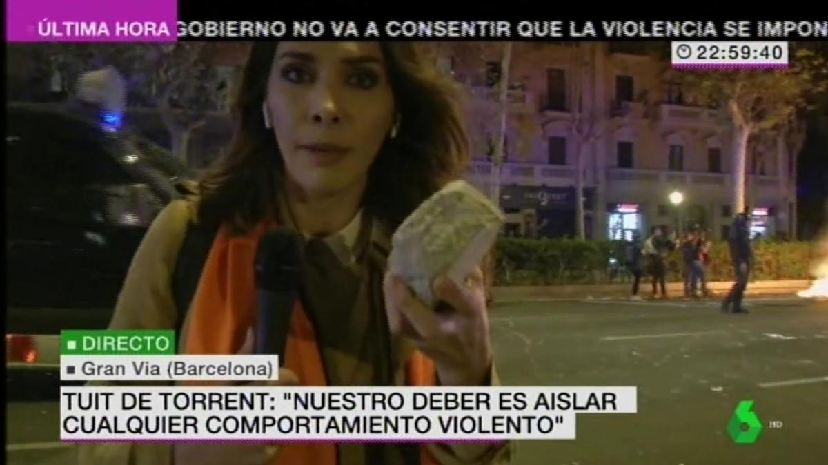Verónica Sanz, en la Gran Vía (La Sexta).