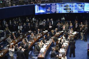 Vista general del Senado de Brasil durante el debate sobre la destitución de Dilma Rousseff, este martes.