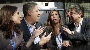 Xavier García Albiol, junto con Alicia Sánchez-Camacho, Andrea Levy y Enric Millo, en el congreso del PPC.