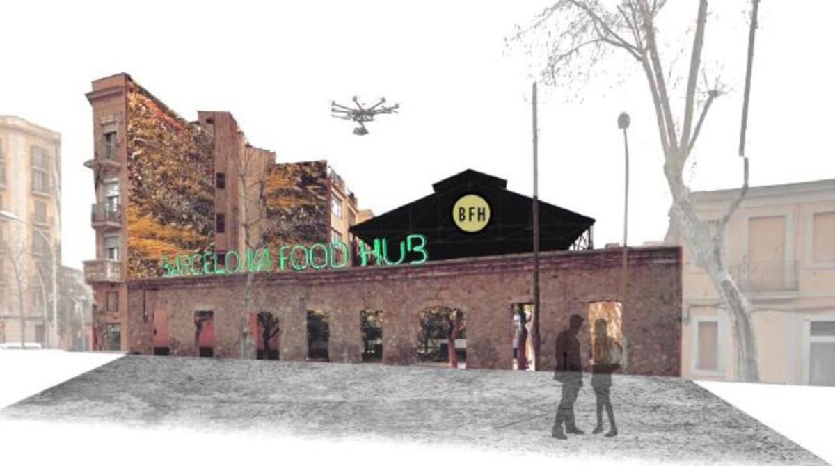 Imagen virtual del aspecto que tendrá el Barcelona Hub Food, en el distrito 22@.