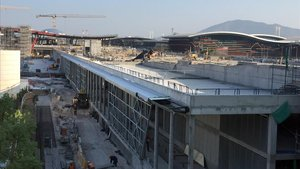 Obras de ampliación del aeropuerto de Santiago de Chile.