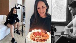 Algunos famosos, Rosalía, Malú y Blas Cantó, estos días desde sus respectivas casas.