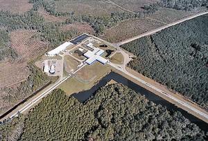Imagen aérea del observatorio de ondas gravitacionales LIGO.