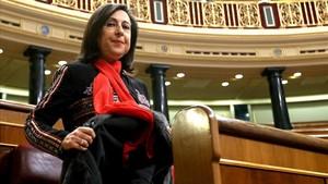 Margarita Robles esta mañana en el Congreso.