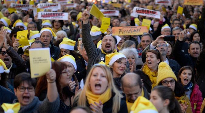 Nadales davant de la Model per demanar la llibertat dels polítics presos.