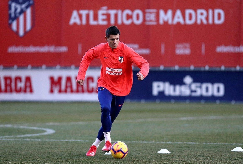 Álvaro Morata durante su primer entrenamiento con el Atlético de Madrid.