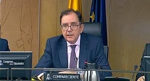 El secretario general de Instituciones Penitenciarias, Ángel Luis Ortiz González, durante su comparecencia ante la Comisión de Interior del Congreso este jueves.