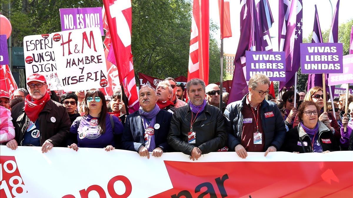 Cabecera de laManifestación del 1 de Mayo, en Madrid.