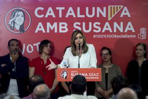 La presidenta andaluza y candidata a la secretaría general del PSOE, Susana Díaz, este viernes, en Mataró.