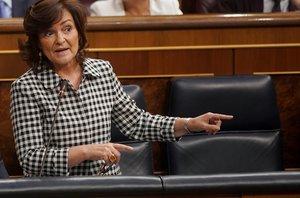 Carmen Calvo, este miércoles en el Congreso.