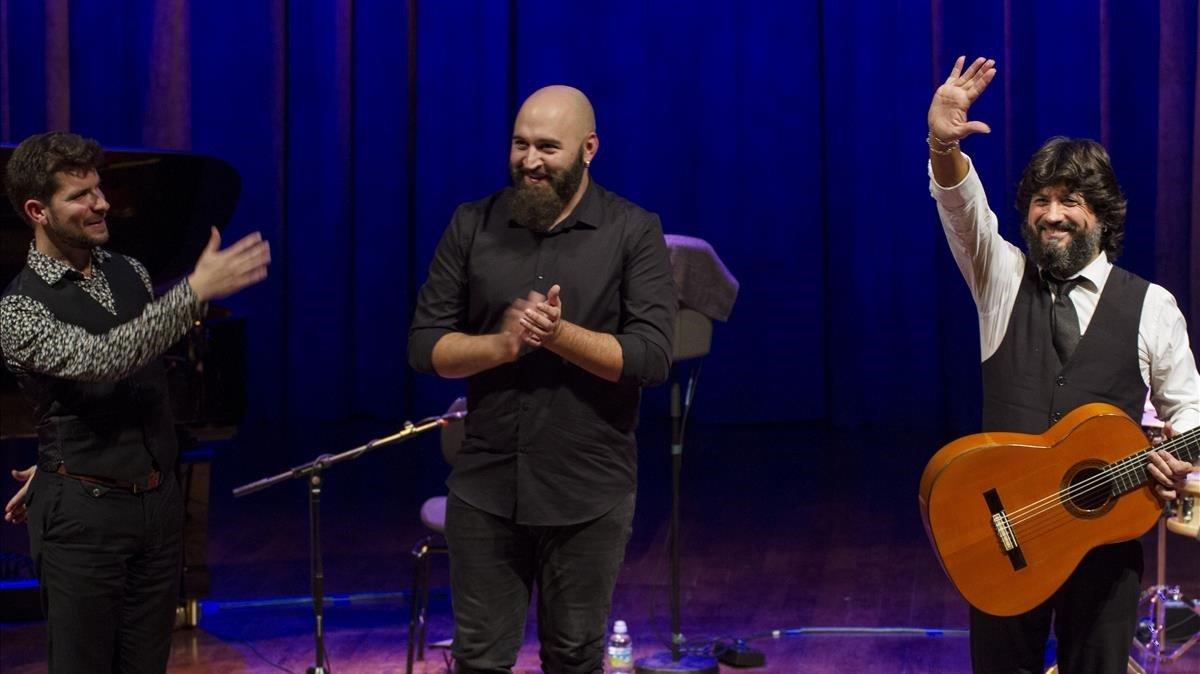 Marco Mezquida, Pacode Mode y Chicuelo, en el Auditori, el viernes.
