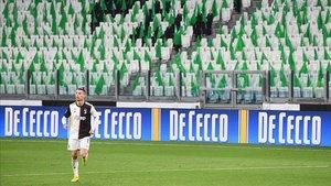 Cristiano Ronaldo, jugando a puerta cerrada con el Juventus.