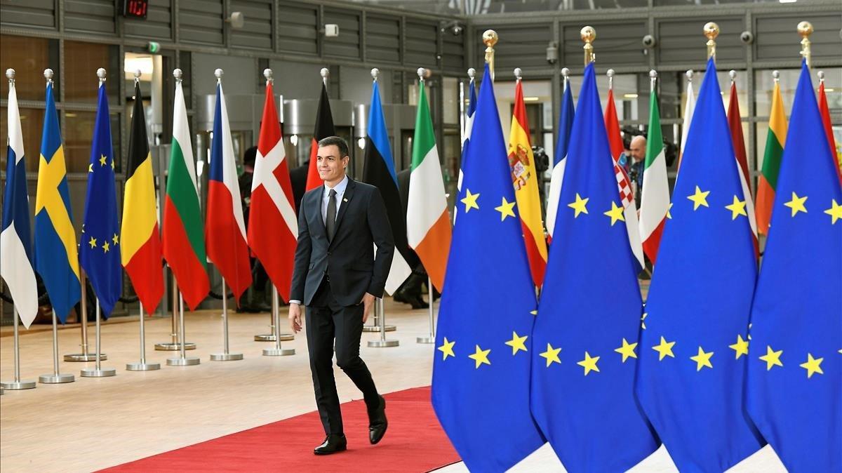 Pedro Sanchez a su llegada al edificio Europa del Consejo de la UE en Bruselas el pasado lunes.