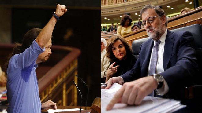 Debate de investidura de Rajoy. Rajoy, a Pablo Iglesias: Nuncale he reprochadoque levante el puño, siempre que no sea obligatorio.