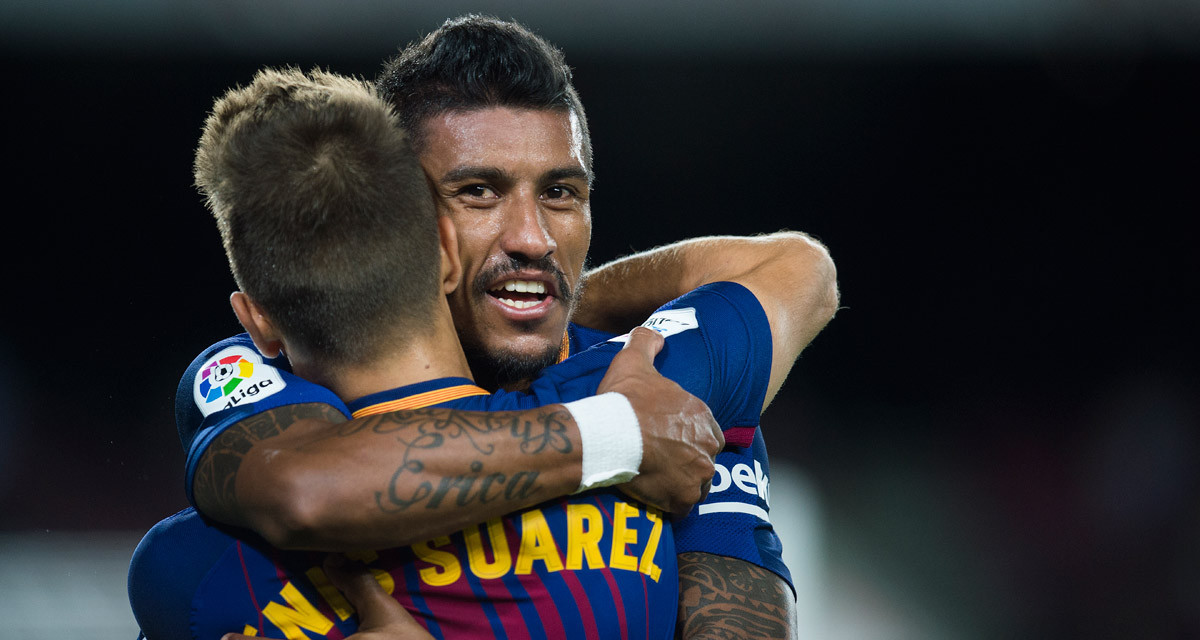 Denis Suárez y Paulinho celebran un gol del Barça.