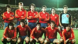 La selección que tumbó a Malta por 12-1 el 21 de diciembre de1983 en Sevilla.