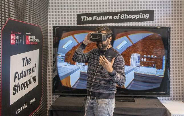 Experiencia de realidad virtual en una tienda Casa Viva de Barcelona.