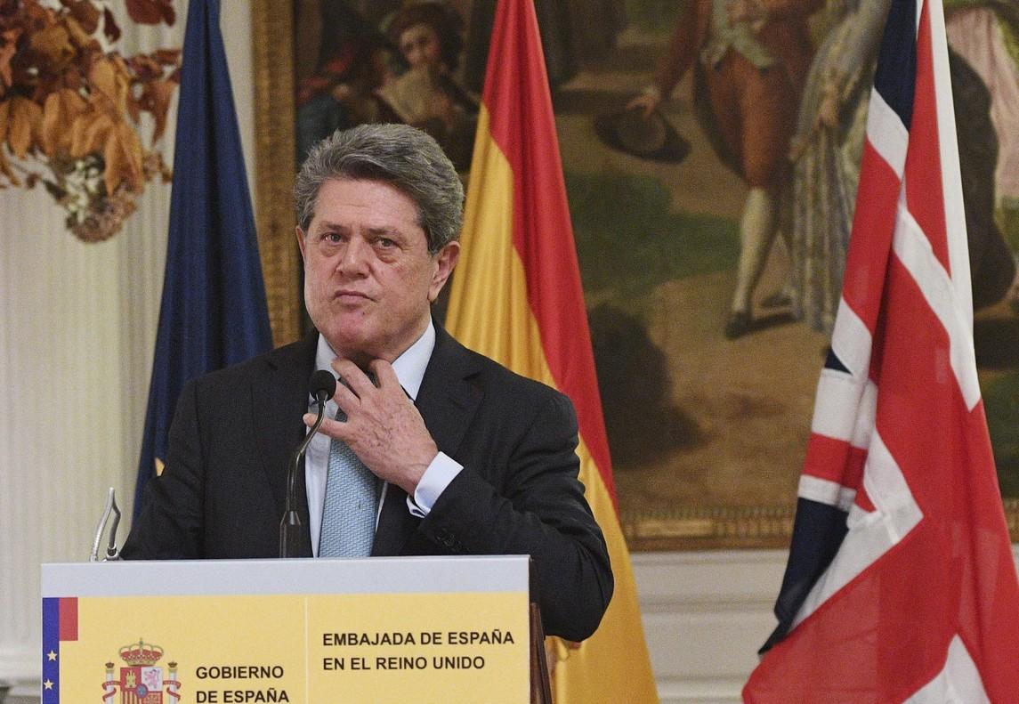 Federico Trillo, durante la rueda de prensa en la que anunció que deja su cargo en la embajada española en Londres.