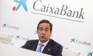 Gonzalo Gortázar en la presentción de los resultados de CaixaBank del primer trimestre del 2019.