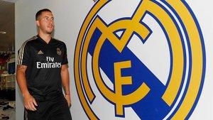 Hazard, en su primer día en Valdebebas, la ciudad deportiva del Madrid.