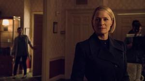 La actriz Robin Wright, en elrodaje de la sexta y última temporada de la serie de Netflix 'House of cards'.