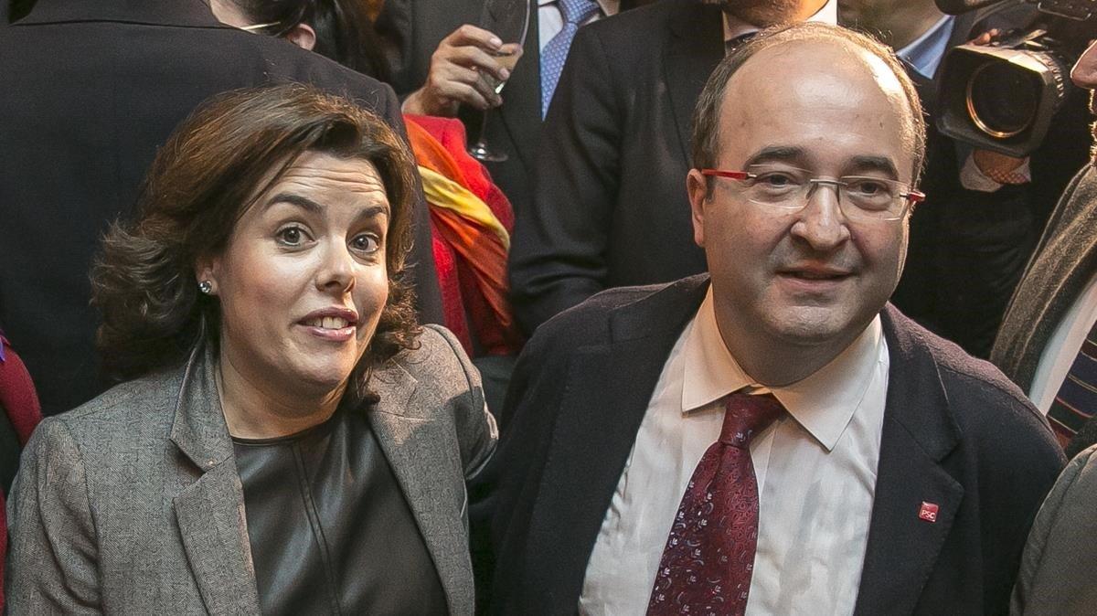 Soraya Sáenz de Santamaría y Miquel Iceta, en un acto en noviembre del 2016.