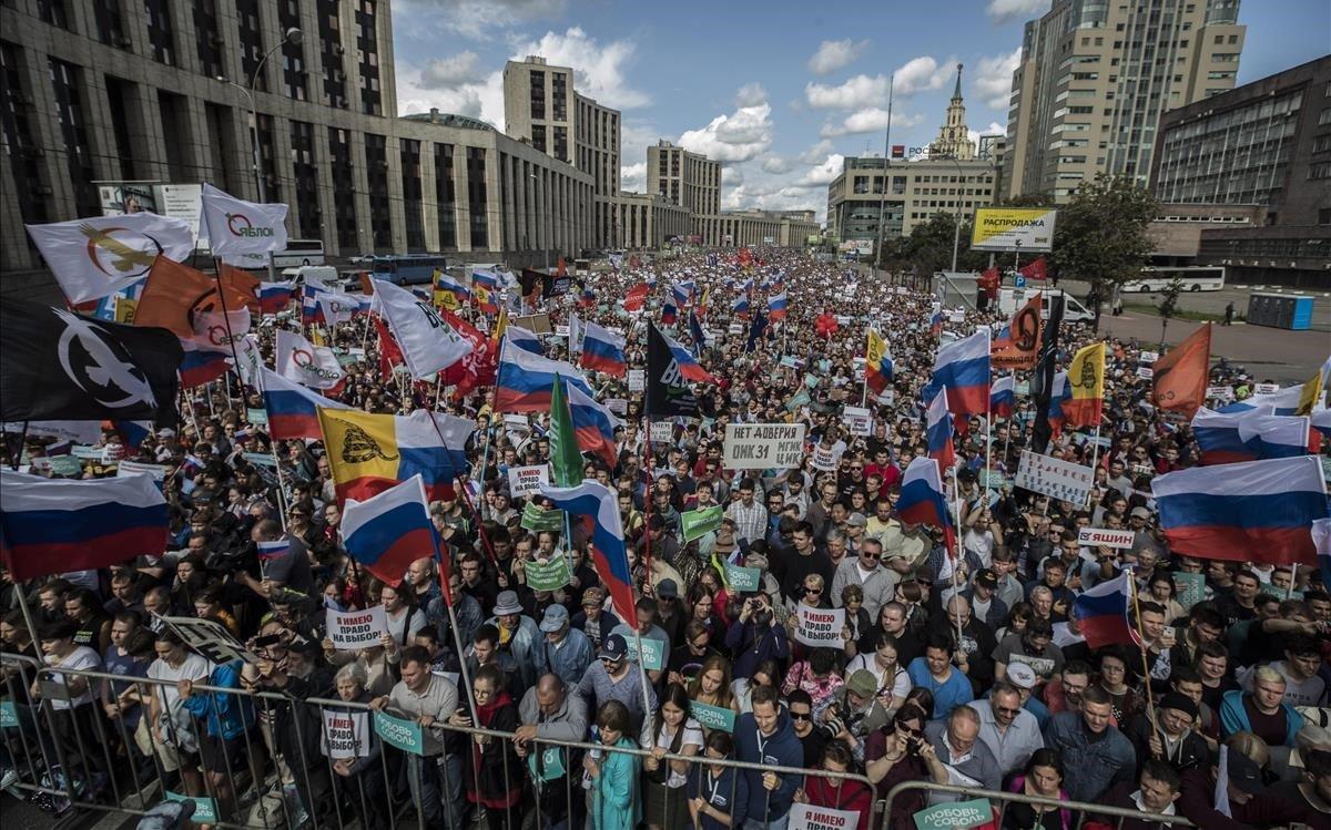 Imagen de la manifestación en Moscú.