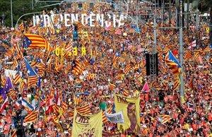 Manifestación independentista del 11 de septiembre del 2018en Barcelona.