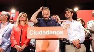Juan Carlos Girauta se dirige a los militantes de Ciudadanos, la noche electoral del 26-J.