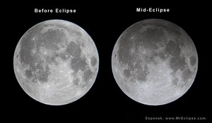 La Luna, antes y durante el eclipse penumbral. Puede apreciarse un el leve oscurecimiento.