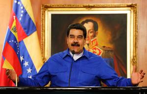 CAR002. CARACAS (VENEZUELA) - Fotografía cedida por la Oficina de Prensa del Palacio de Miraflores, del mandatario venezolano, Nicolás Maduro, durante un acto oficial de Gobierno hoy, sábado 14 de octubre de 2017, en Caracas (Venezuela). Maduro insistió hoy en que la mesa de diálogo con sus opositores continuará la próxima semana y se mostró confiado en que estarán los dirigentes de todos los partidos del antichavismo. EFE/MIRAFLORES/SOLO USO EDITORIAL/NO VENTAS