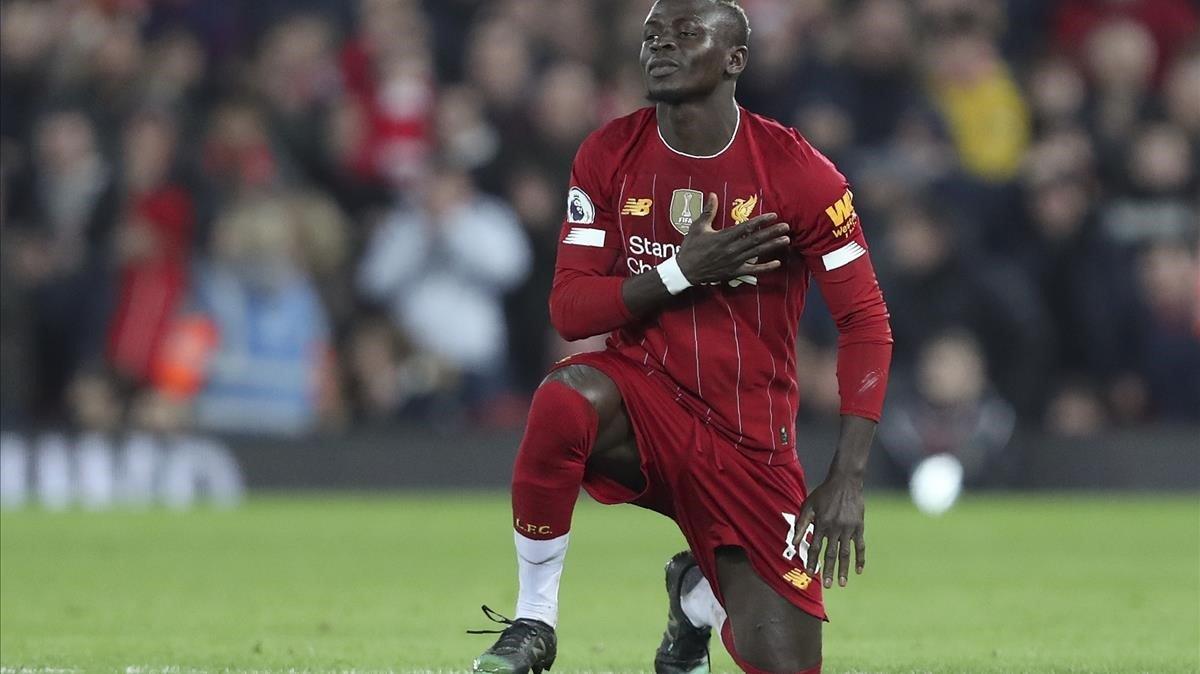 Mane celebra el gol del Liverpool ante el Wolverhampton.